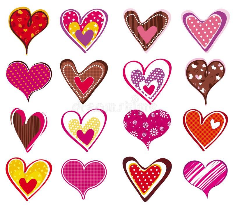 Dieciséis corazón, vector stock de ilustración
