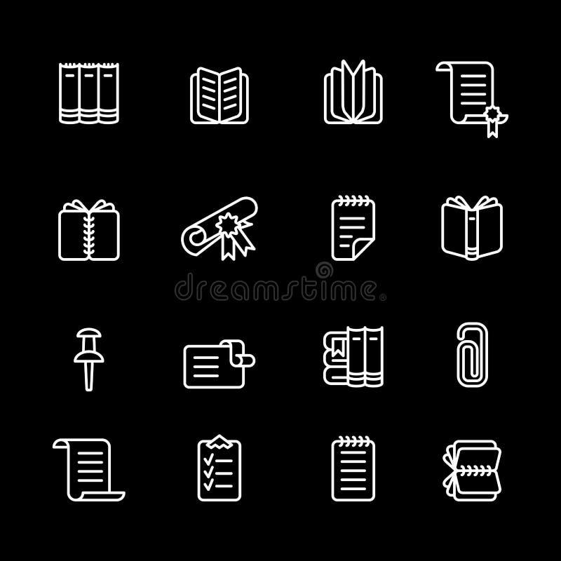 Dieciséis iconos blancos del ordenador del esquema stock de ilustración