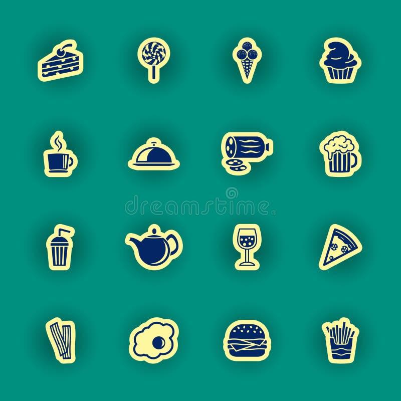Dieciséis iconos de la comida y de la bebida libre illustration