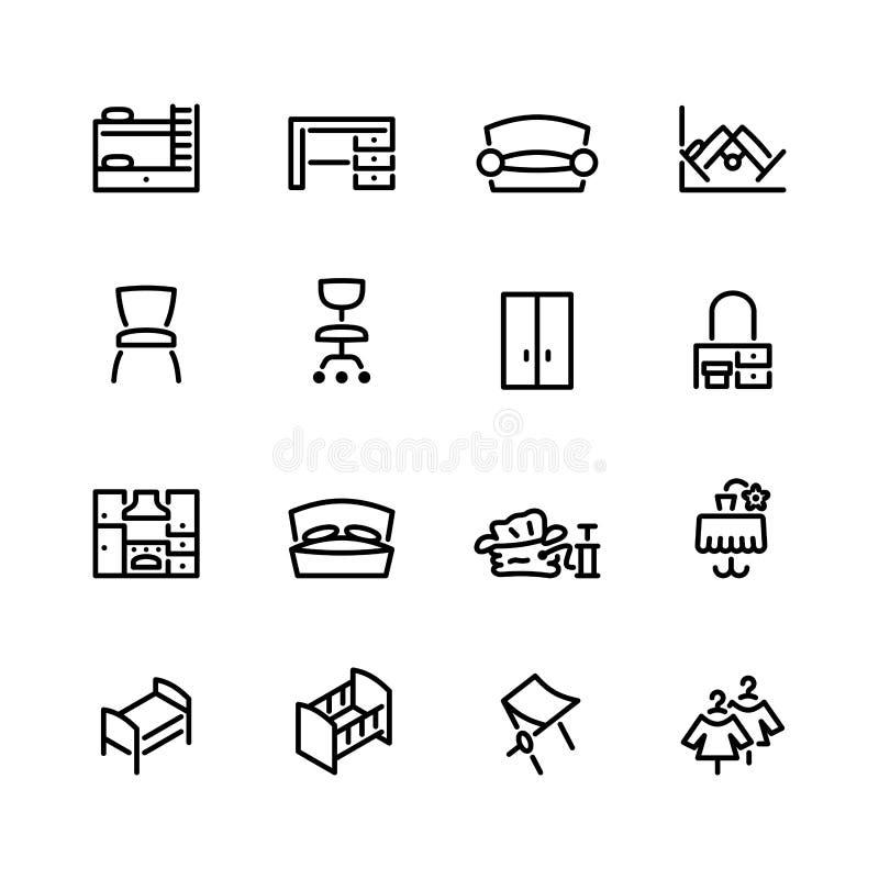 Dieciséis iconos de los muebles aislados en blanco libre illustration