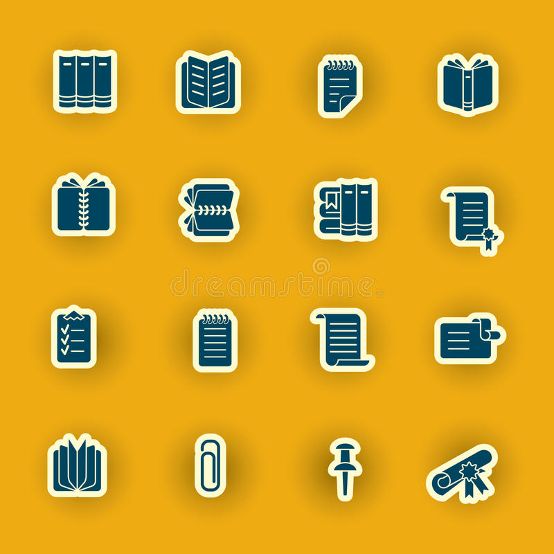 Dieciséis iconos del ordenador aislados en naranja stock de ilustración