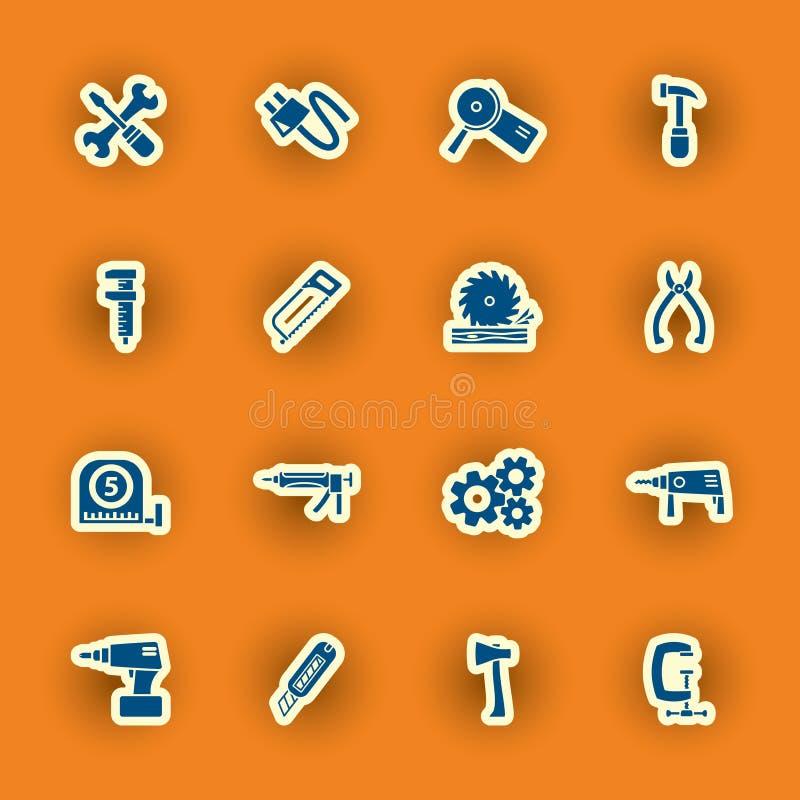 Dieciséis iconos el homebuilding y de la construcción ilustración del vector