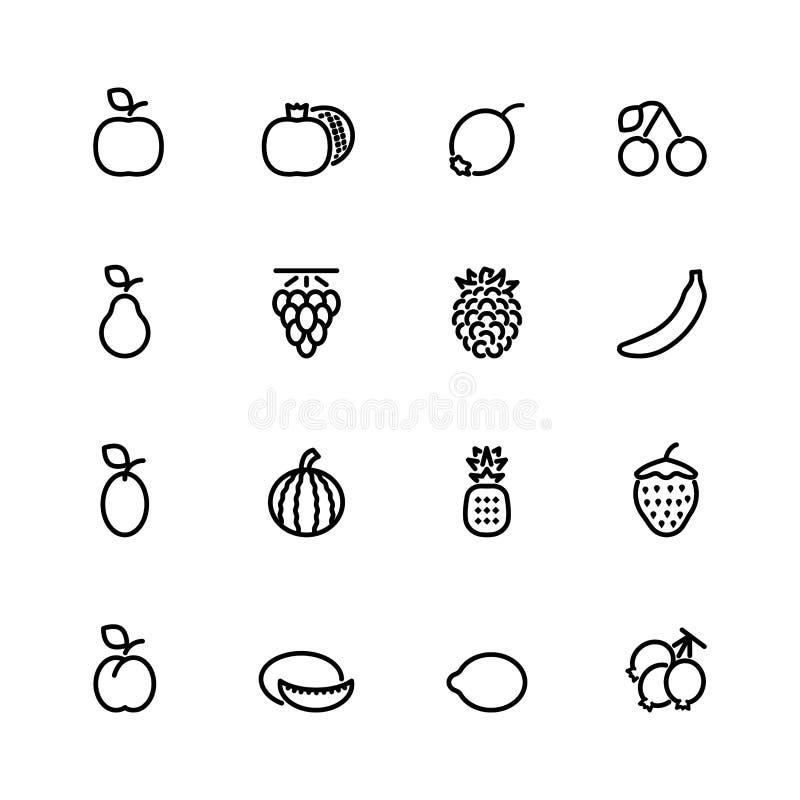 Dieciséis iconos negros de la fruta fresca del esquema stock de ilustración