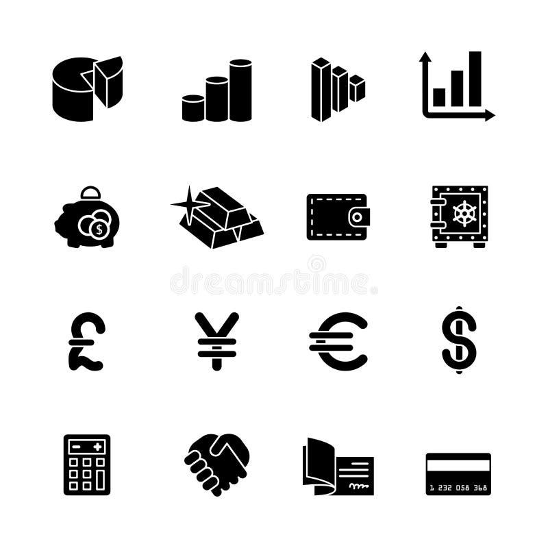 Dieciséis iconos negros del ordenador ilustración del vector