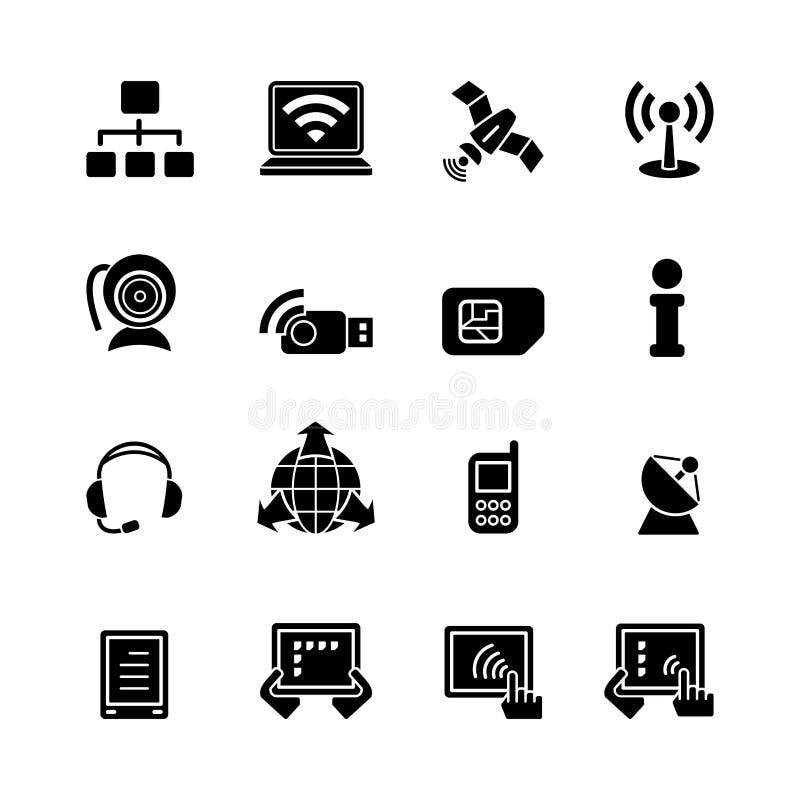Dieciséis iconos negros del ordenador libre illustration