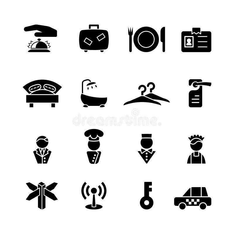 Dieciséis iconos negros del ordenador stock de ilustración