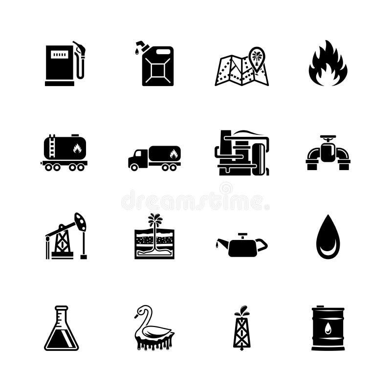 Dieciséis iconos negros del ordenador aislados en blanco stock de ilustración