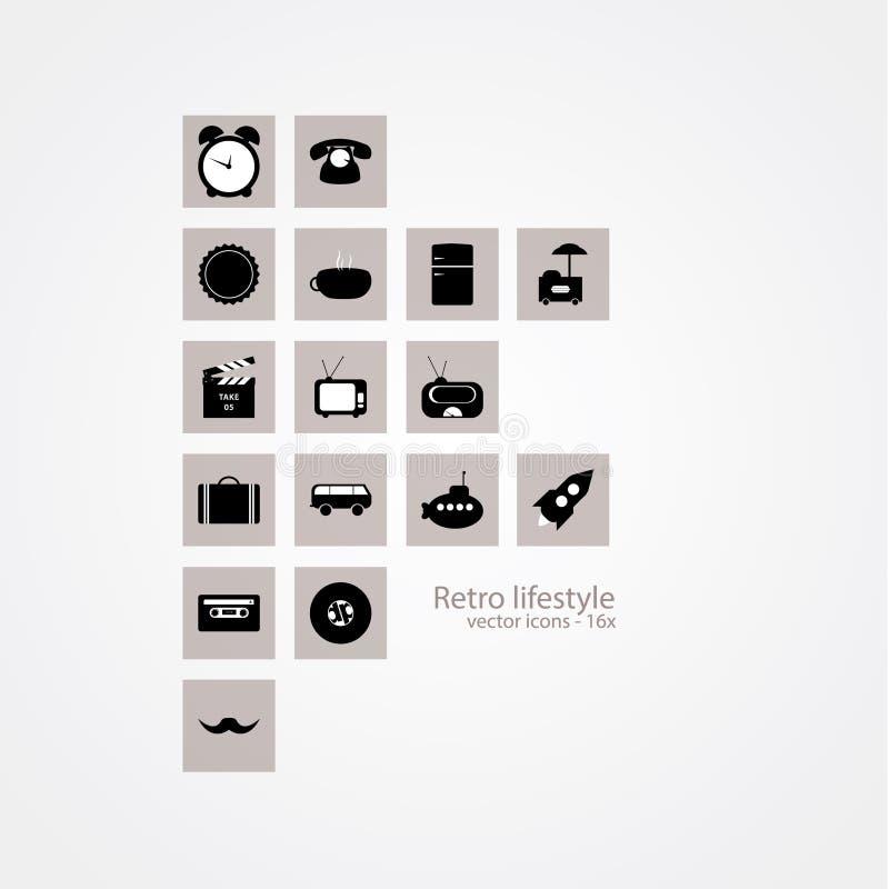 Dieciséis iconos retros de la forma de vida. Diseño blanco y negro simple - o ilustración del vector