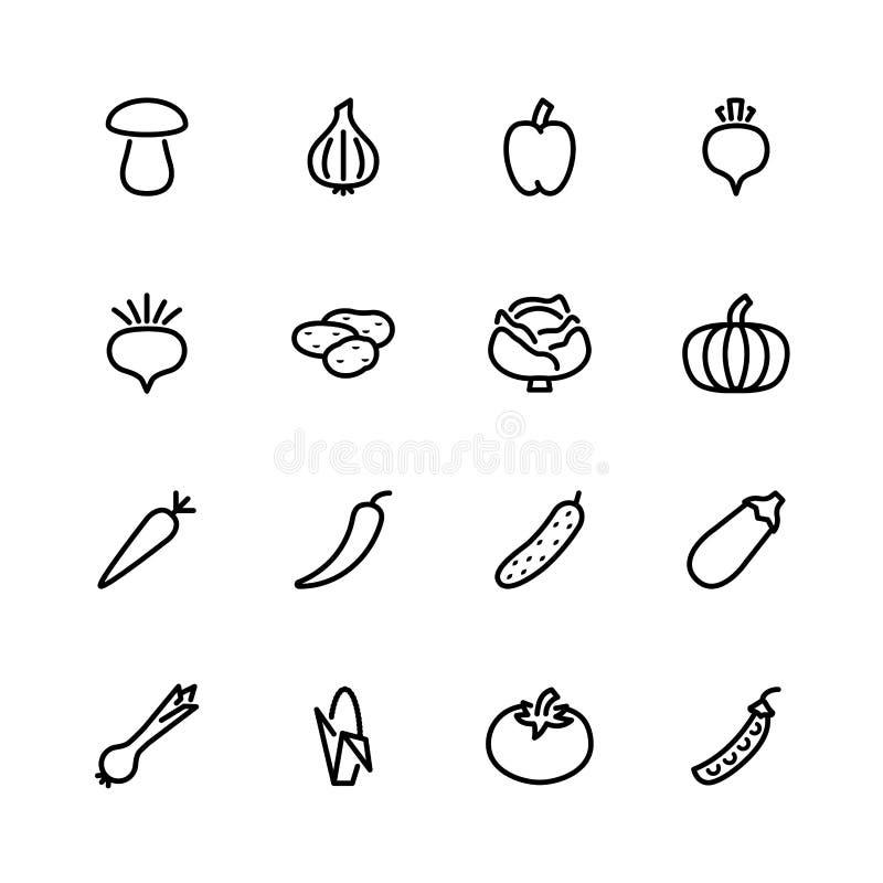 Dieciséis iconos vegetales aislados en blanco ilustración del vector