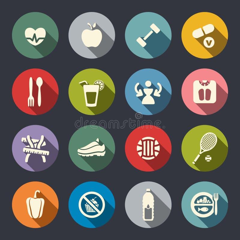 Dieet en geschiktheids geplaatste themapictogrammen. Vlak stock illustratie