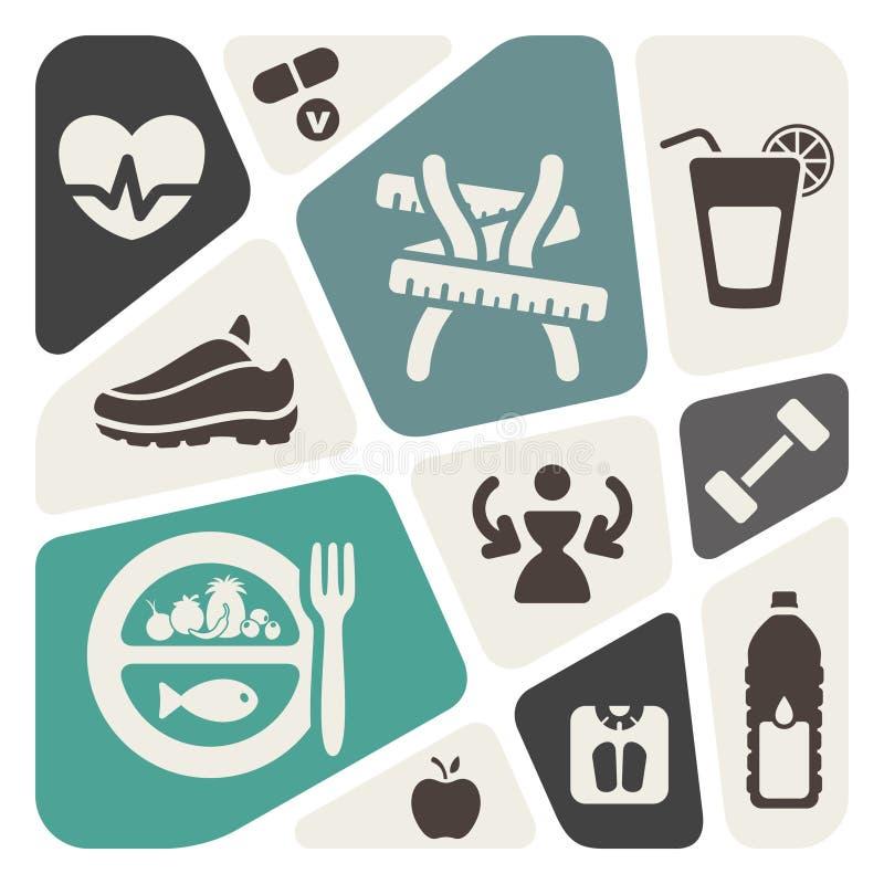 Dieet en geschiktheidsachtergrond met pictogrammen stock illustratie