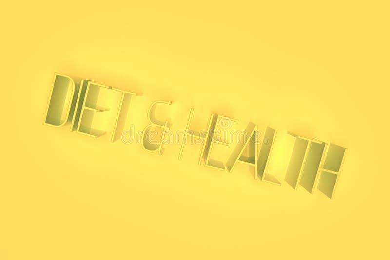 Dieet & gezondheid, het 3D teruggeven Abstracte typografie, CGI-sleutelwoorden Behang voor grafisch ontwerp stock illustratie