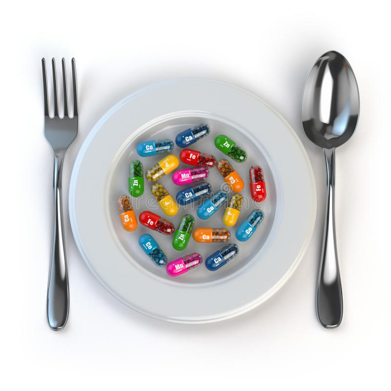 Dieet Pillen of vitaminen op plaat met lepel en vork royalty-vrije illustratie