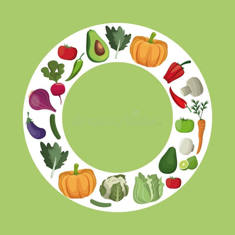 Dieet van groenten het verse ingrediënten stock illustratie