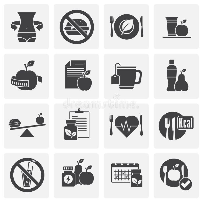 Dieet verwante die pictogrammen op achtergrond voor grafisch en Webontwerp worden geplaatst Eenvoudige illustratie Internet-conce stock illustratie