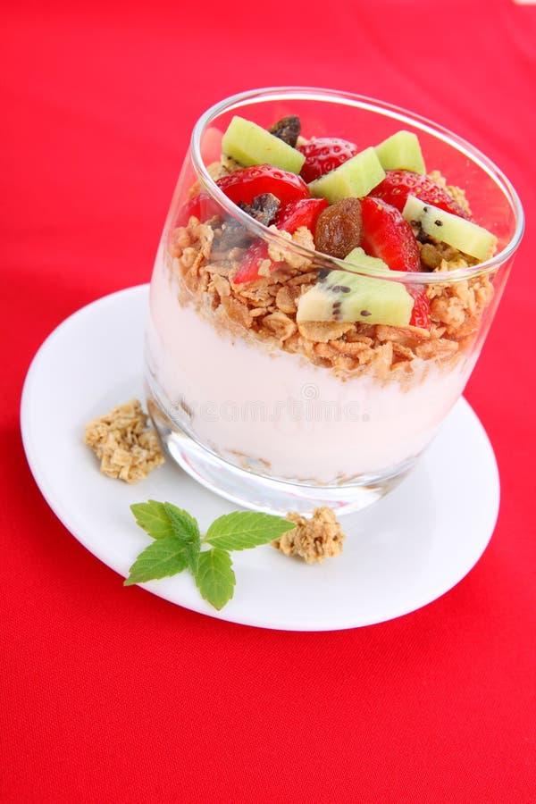 Dieetdessert met yoghurt, granola en verse bessen stock fotografie