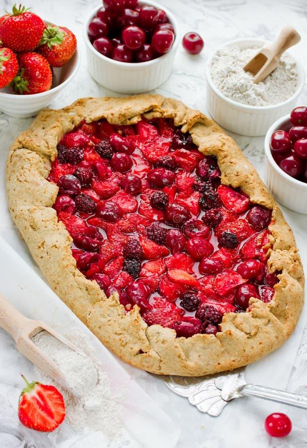 Dieetgaleta van roggebloem met aardbei, kers en blackb stock foto's