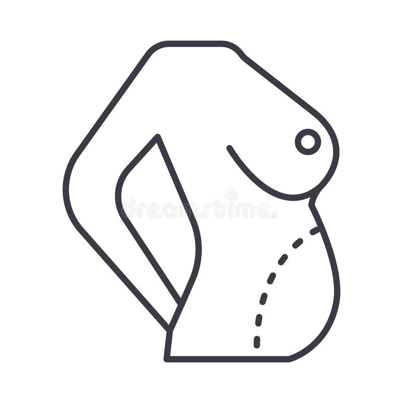 Dieetlichaam, vette correctie, pictogram van de buik het vectorlijn, teken, illustratie op achtergrond, editable slagen vector illustratie