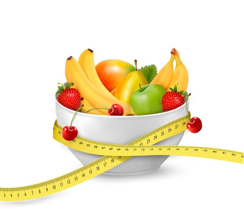 Dieetmaaltijd. Fruit in een kom met het meten van band. royalty-vrije illustratie