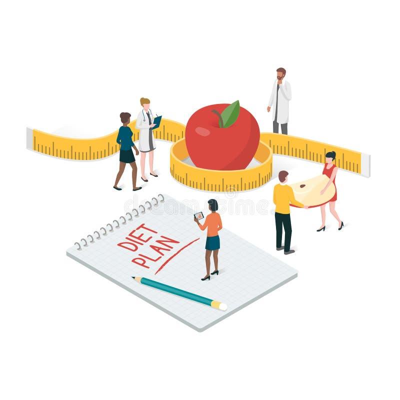 Dieetplan en voeding vector illustratie