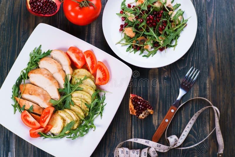 Dieetvoedsel, kippenvlees voor het op dieet zijn, proteïnen, gezonde laag-calo stock foto's