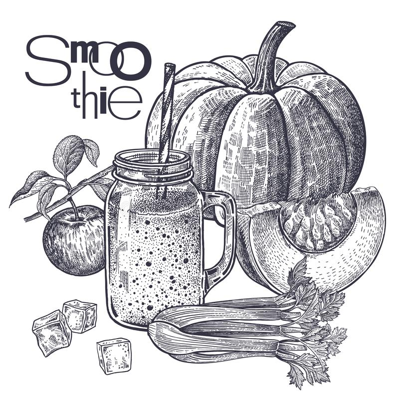 Dieetvoedsel smoothies royalty-vrije illustratie