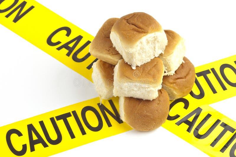 Dieetwaarschuwing of gluten/tarweallergiewaarschuwing stock afbeelding