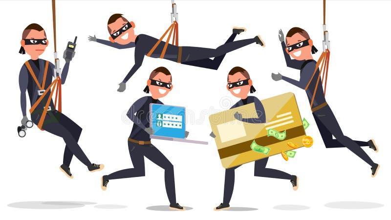 Dief, de Vastgestelde Vector van de Hakkermens Stealing Creditcardinformatie, Persoonsgegevens, Geld Visserijaanval vlak vector illustratie