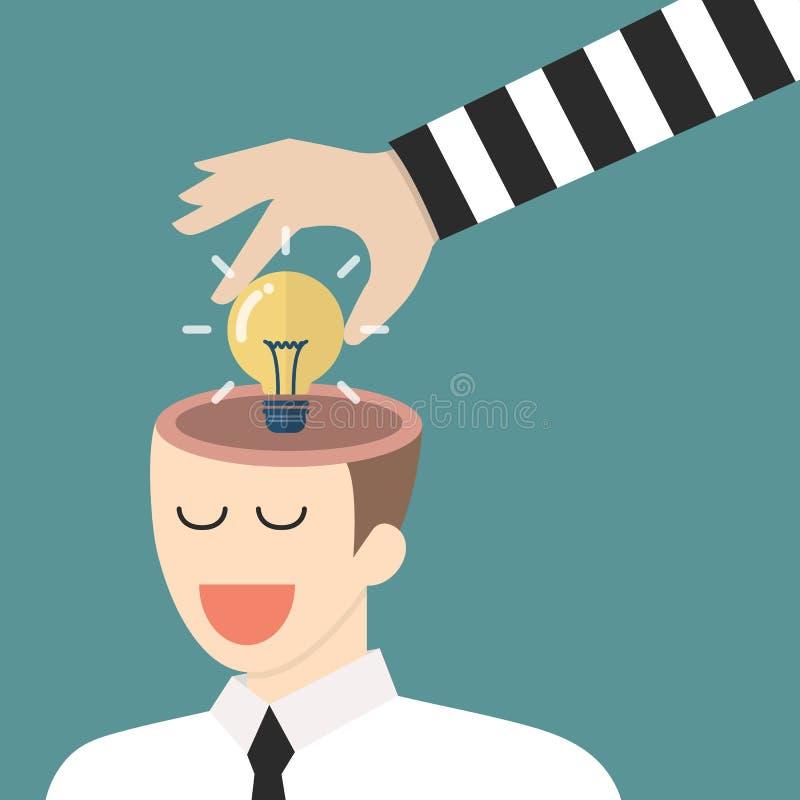 Dief die lightbulb idee van een hoofd stelen royalty-vrije illustratie
