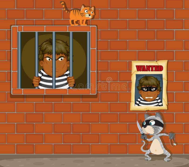 Dief in gevangenis vector illustratie
