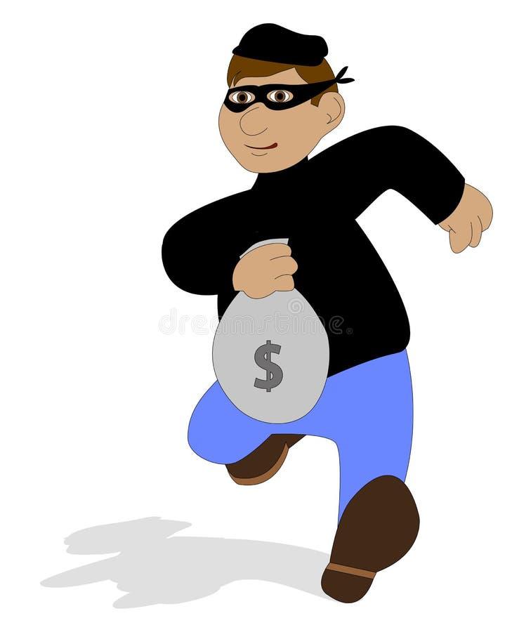 Dief met gestolen zak vector illustratie