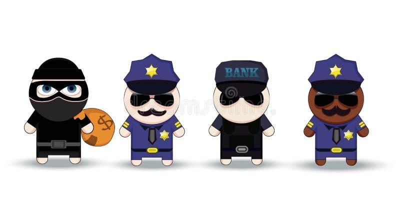 Dief met Gestolen Zak, Politieagent en Bankveiligheidsagent, beeldverhaalkarakters stock illustratie