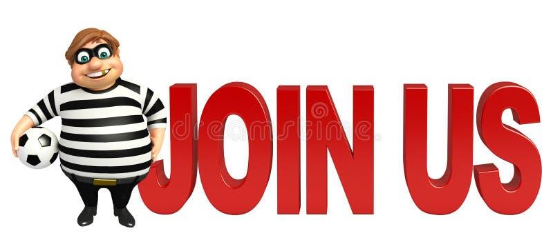Dief met Join ons teken vector illustratie