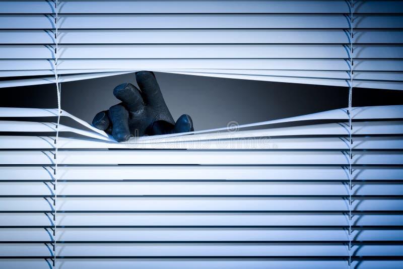 Dief Peeking Through een Venster stock afbeelding