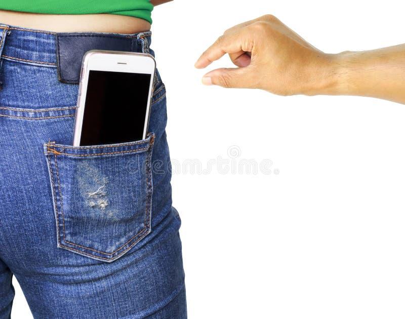 Diefhand die aan stole mobiele telefoon proberen royalty-vrije stock afbeelding