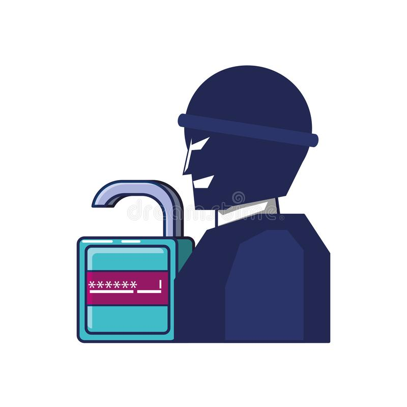 Diefmens en hangslot met wachtwoord vector illustratie