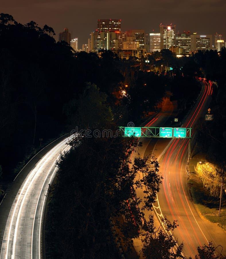 diego i stadens centrum hw163 natt san arkivbilder