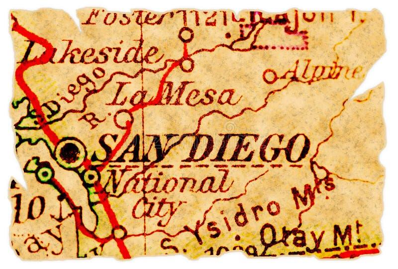 diego mapa stary San fotografia stock
