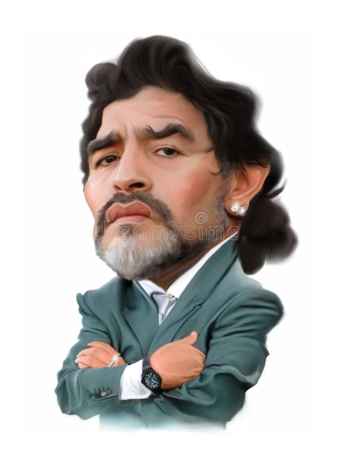 Diego Maradona Caricature stock illustration