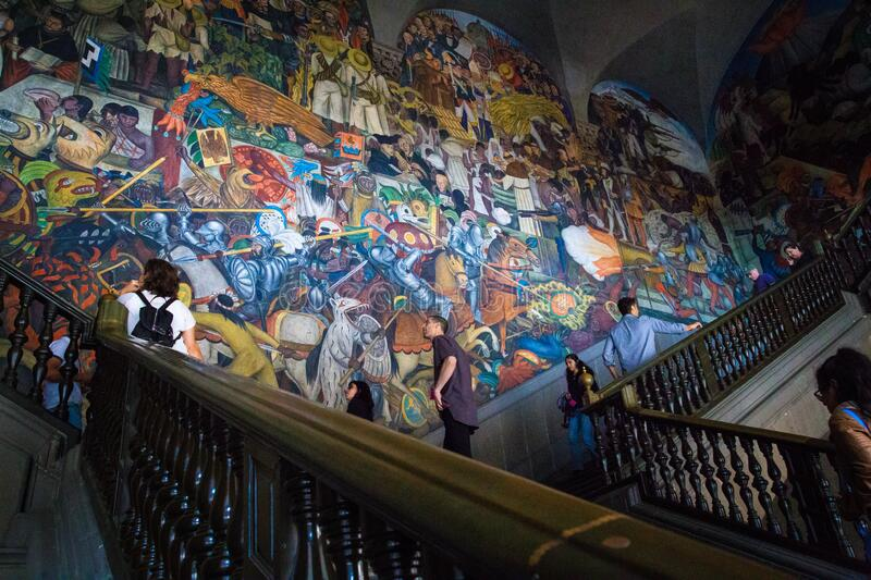 Diego Rivera mural painted inside the National Palace in Mexico City, Mexico royalty free stock images