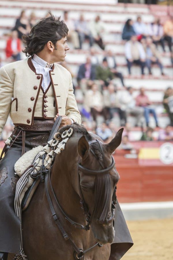 Diego Ventura, bullfighter on horseback spanish, Jaen, Spain. Jaen, SPAIN - October 13, 2008: Diego Ventura, bullfighter on horseback spanish, in the bullring in royalty free stock images