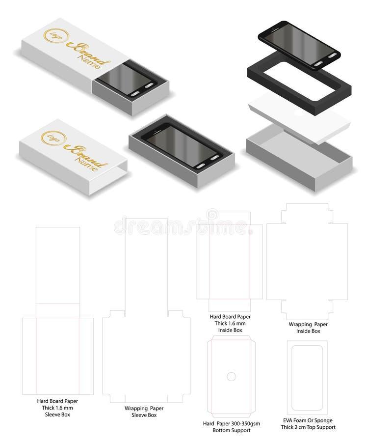 Dieline rigido del modello del contenitore di manica dello scorrevole di Smartphone royalty illustrazione gratis
