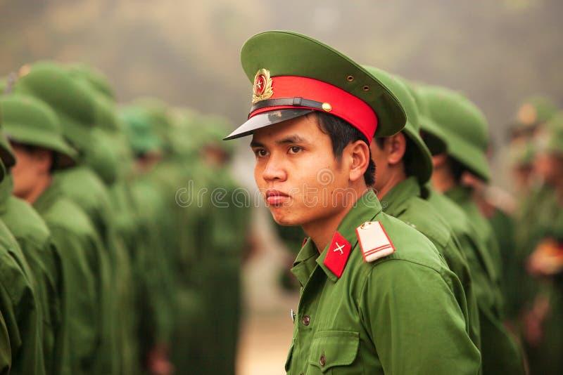 Young Vietnamese soldier during site visit program of Vietnamese. Dien Bien Phu, Vietnam – FEBRUARY 26, 2012: Young Vietnamese soldier during site visit stock images