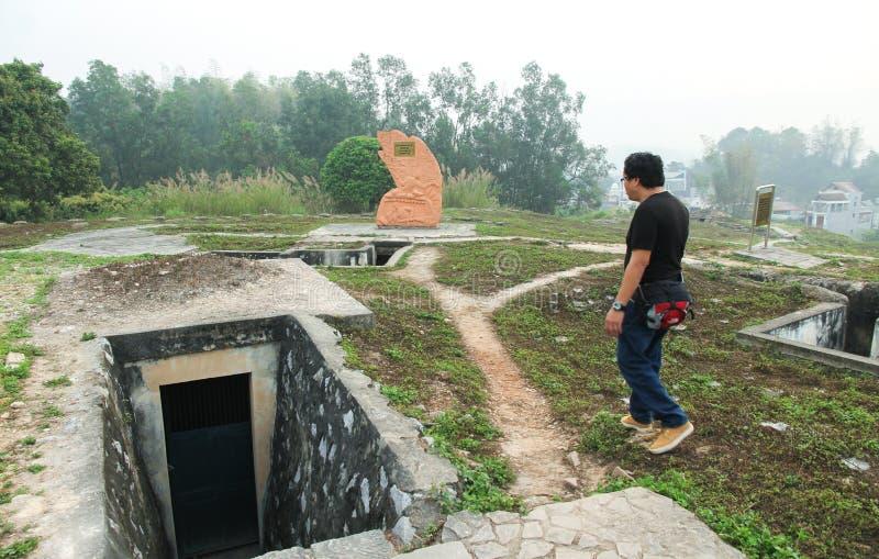 Dien Bien Phu Vietnam - Mars 7, 2017: Dikekrig på kullen A1 en berömd historisk plats av striden av Dien Bien Phu i Dien Bie royaltyfria foton