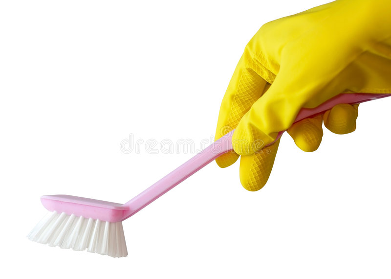 Dien de borstel van de handschoenholding in stock afbeeldingen