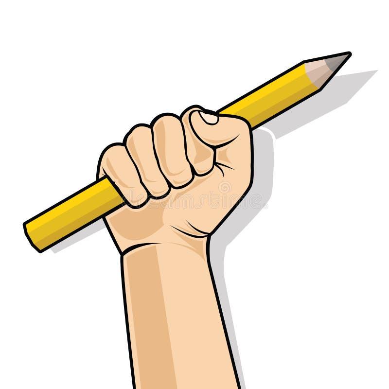 Dien een vuist in houdend een potlood Vector illustratie royalty-vrije illustratie