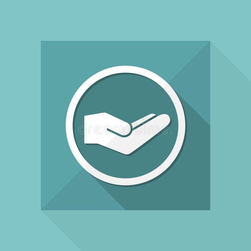 Dien gebaar van liefdadigheid in - Vector minimaal pictogram stock illustratie