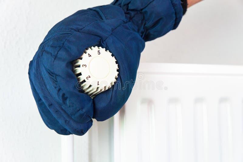 Dien handschoen in draait het verwarmen klep in de winter royalty-vrije stock fotografie