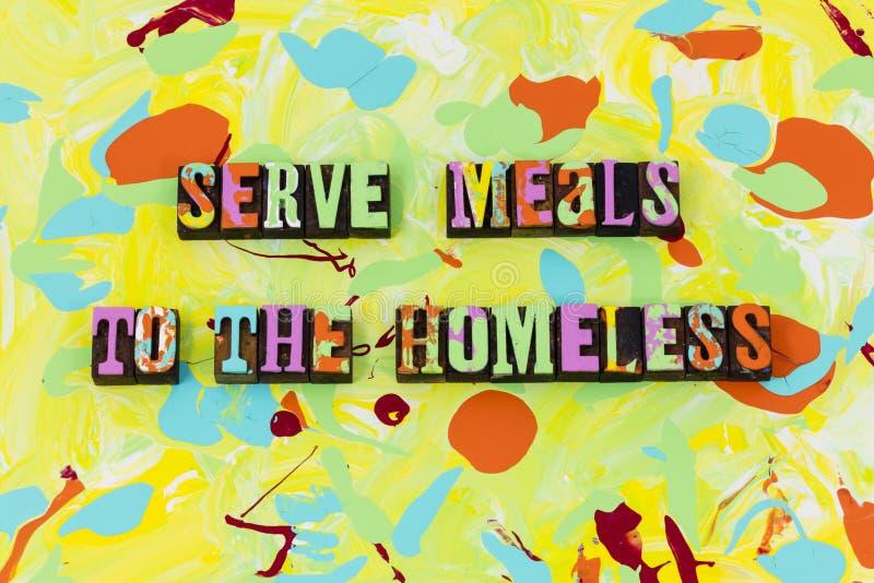 Dien hulp van de de mensenliefdadigheid van het maaltijd de dakloze voer hongerige stock illustratie