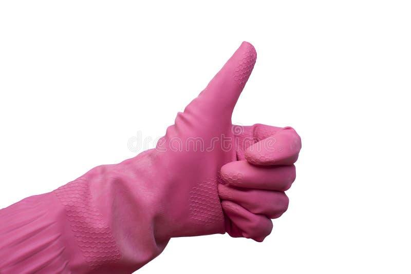 Dien roze beschermende rubberhandschoen in toont duim Handschoen voor huishouden, het tuinieren, het schoonmaken royalty-vrije stock afbeelding